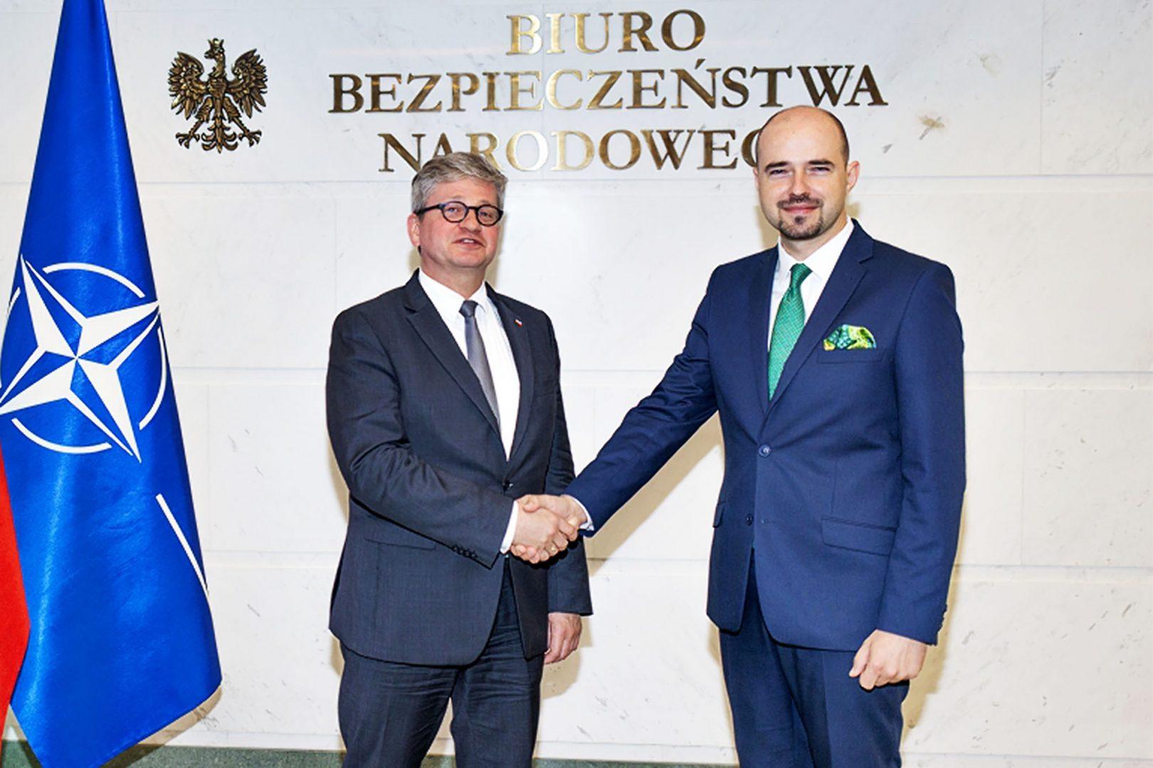 Aktualne działania BBN orazwspółpraca wramach Warsaw Security Forum były tematem spotkania przedstawicieli Fundacji Pułaskiego zMinistrem Pawłem Solochem