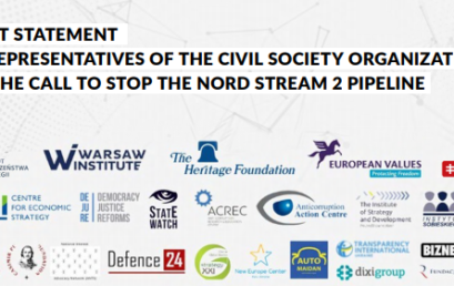 JOINT STATEMENT BYREPRESENTATIVES OF THE CIVIL SOCIETY ORGANIZATIONS  ON THE CALL TOSTOP THE NORD STREAM 2 PIPELINE